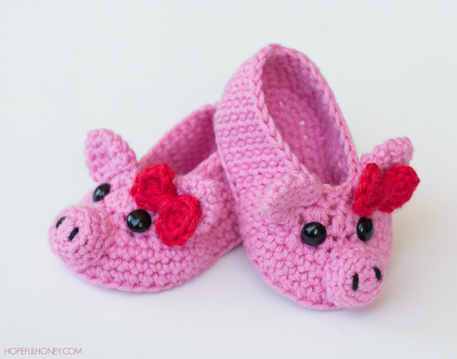 Pink Piggy Baby Booties Crochet Pattern