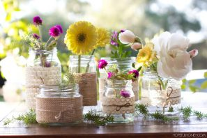 DIY Whimsical Lace & Twine Wrapped Jars