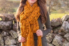 Butterscotch Tassel Scarf Crochet Pattern