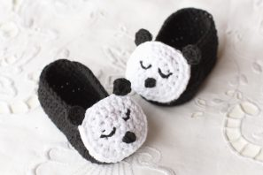 Sleepy Panda Baby Booties Crochet Pattern