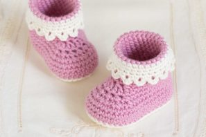 Pink Lady Baby Booties Crochet Pattern