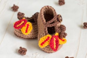 Autumn Oak Baby Booties Crochet Pattern