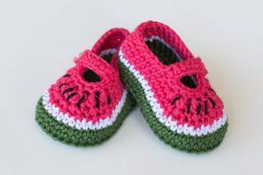 Watermelon Baby Booties – Crochet Pattern