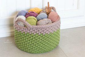 Woodland Moss Chunky Basket – Crochet Pattern